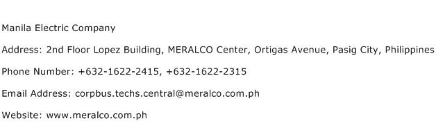 Manila Electric Company Address Contact Number