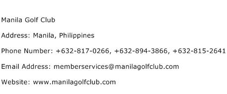 Manila Golf Club Address Contact Number