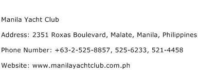 Manila Yacht Club Address Contact Number