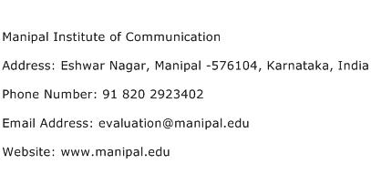 Manipal Institute of Communication Address Contact Number