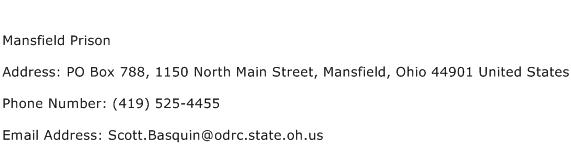 Mansfield Prison Address Contact Number