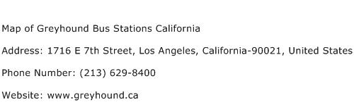 Map of Greyhound Bus Stations California Address Contact Number