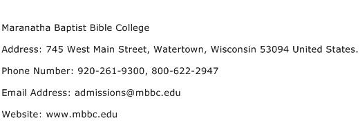 Maranatha Baptist Bible College Address Contact Number