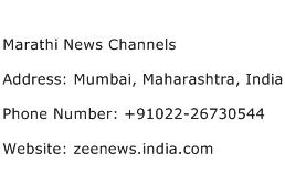 Marathi News Channels Address Contact Number
