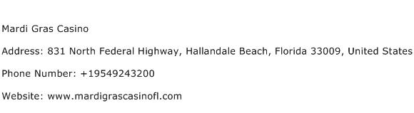 Mardi Gras Casino Address Contact Number