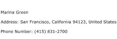 Marina Green Address Contact Number