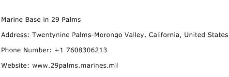 Marine Base in 29 Palms Address Contact Number