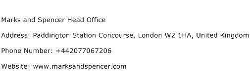 Marks and Spencer Head Office Address Contact Number