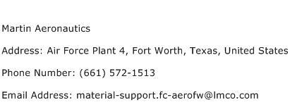 Martin Aeronautics Address Contact Number
