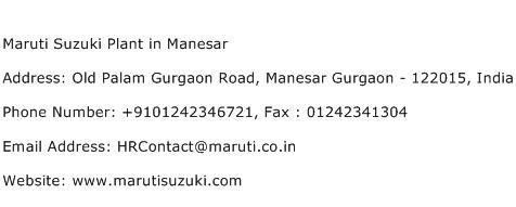 Maruti Suzuki Plant in Manesar Address Contact Number