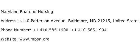Maryland Board of Nursing Address Contact Number