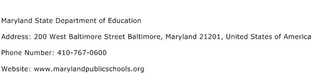 Maryland State Department of Education Address Contact Number