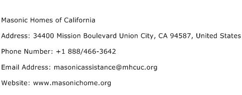 Masonic Homes of California Address Contact Number