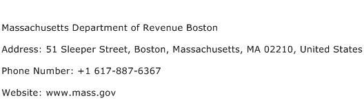 Massachusetts Department of Revenue Boston Address Contact Number