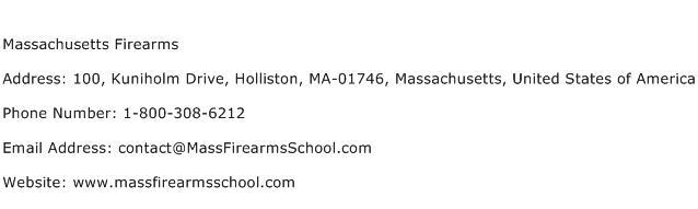 Massachusetts Firearms Address Contact Number