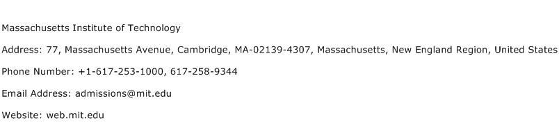 Massachusetts Institute of Technology Address Contact Number