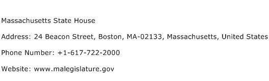 Massachusetts State House Address Contact Number