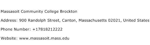 Massasoit Community College Brockton Address Contact Number