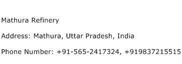 Mathura Refinery Address Contact Number