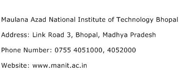 Maulana Azad National Institute of Technology Bhopal Address Contact Number