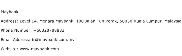 Maybank Address Contact Number