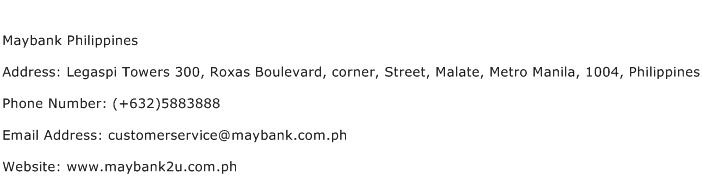 Maybank Philippines Address Contact Number