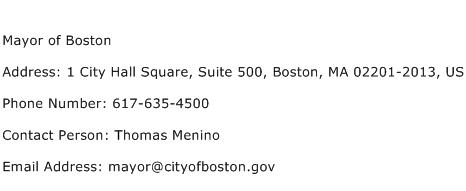 Mayor of Boston Address Contact Number