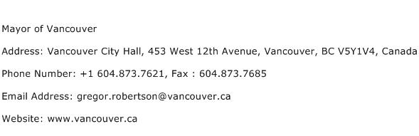Mayor of Vancouver Address Contact Number