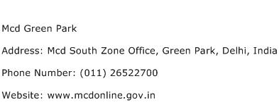 Mcd Green Park Address Contact Number