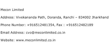 Mecon Limited Address Contact Number