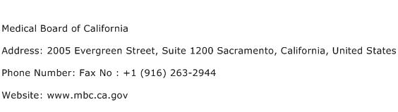 Medical Board of California Address Contact Number