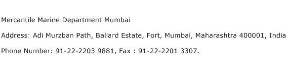 Mercantile Marine Department Mumbai Address Contact Number