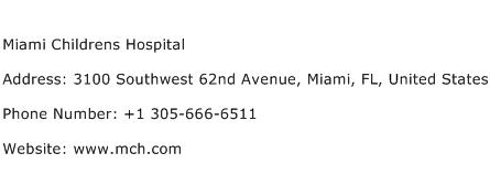 Miami Childrens Hospital Address Contact Number