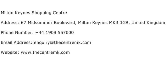 Milton Keynes Shopping Centre Address Contact Number