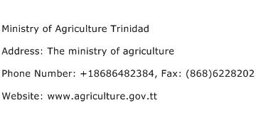Ministry of Agriculture Trinidad Address Contact Number