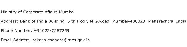 Ministry of Corporate Affairs Mumbai Address Contact Number