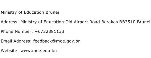 Ministry of Education Brunei Address Contact Number