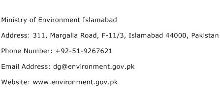 Ministry of Environment Islamabad Address Contact Number