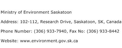 Ministry of Environment Saskatoon Address Contact Number