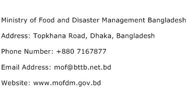 Ministry of Food and Disaster Management Bangladesh Address Contact Number