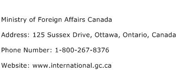 Ministry of Foreign Affairs Canada Address Contact Number