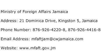 Ministry of Foreign Affairs Jamaica Address Contact Number