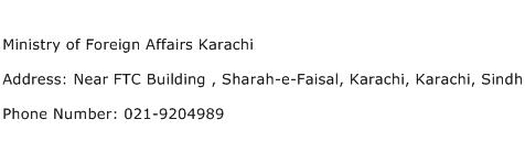 Ministry of Foreign Affairs Karachi Address Contact Number