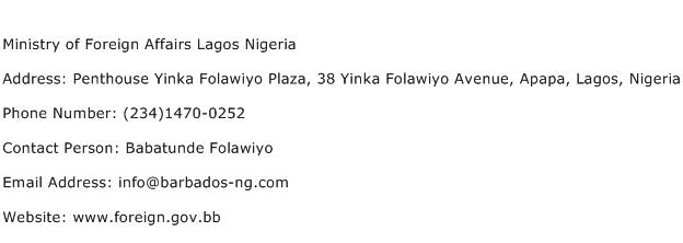 Ministry of Foreign Affairs Lagos Nigeria Address Contact Number