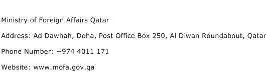 Ministry of Foreign Affairs Qatar Address Contact Number