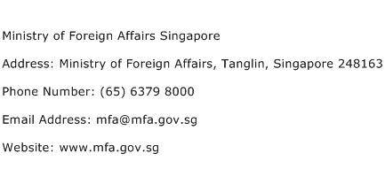 Ministry of Foreign Affairs Singapore Address Contact Number