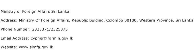 Ministry of Foreign Affairs Sri Lanka Address Contact Number