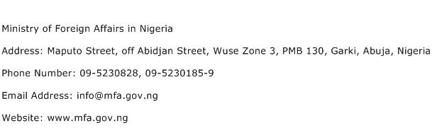 Ministry of Foreign Affairs in Nigeria Address Contact Number