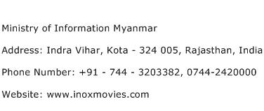 Ministry of Information Myanmar Address Contact Number