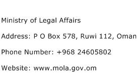 Ministry of Legal Affairs Address Contact Number